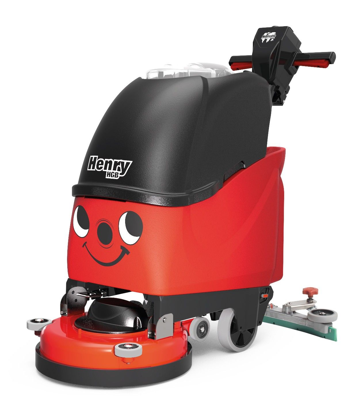 HGB3045 schrob-zuigmachine batterij Henry rood/zwart